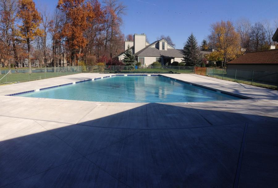 Commercial Concrete Deck, Pool Replaster, New Waterline Tile