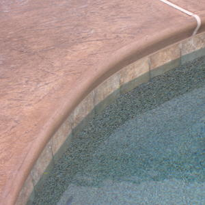 Roller Stamped Colored Concrete Coping